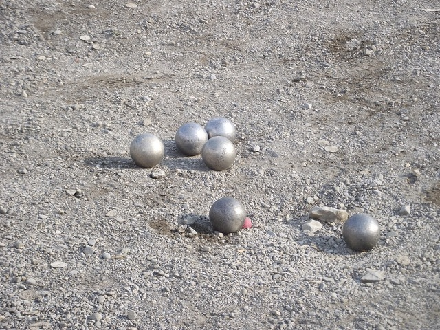 Boules balls sand, travel vacation.