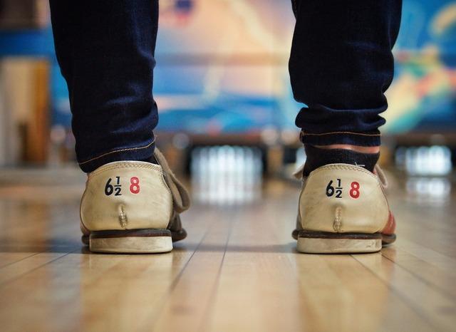 Bowling alley shoes lane.