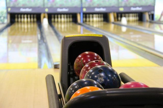 Bowling colorful bowling balls, sports.