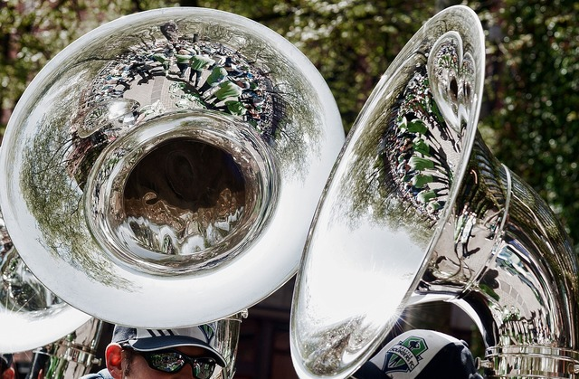 Brass band reflections tuba, sports.
