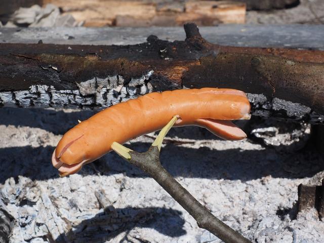 Bratwurst grill sausage red.
