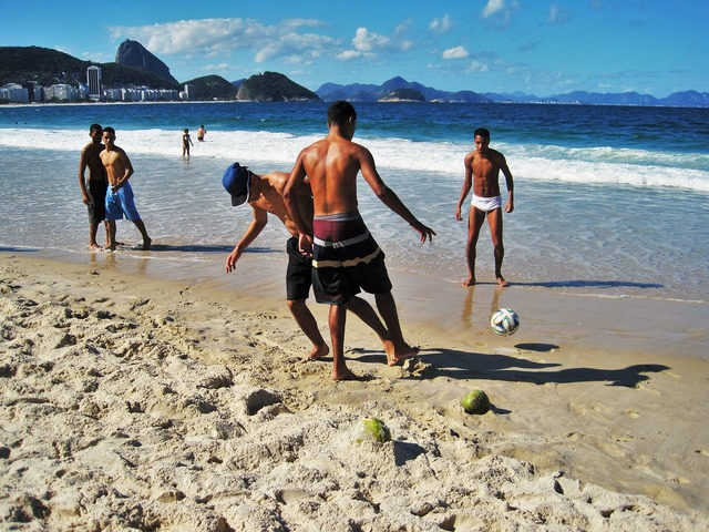 Brazilian football copacabana, sports.