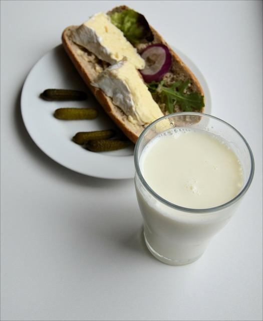 Bread milk breakfast, food drink.