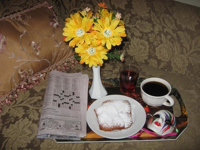 Breakfast breakfast tray coffee.