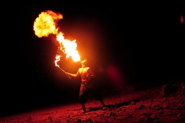 Breathing fire fire-eater fire.
