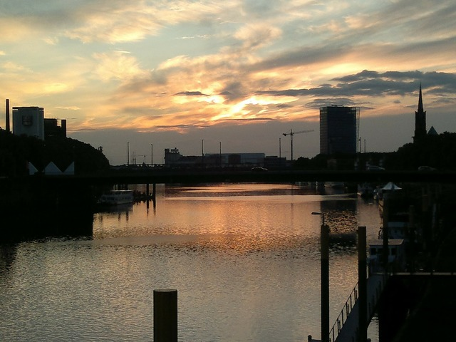 Bremen weser sunset, travel vacation.