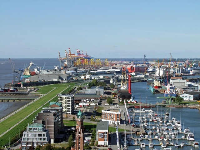 Bremerhaven view new port, travel vacation.