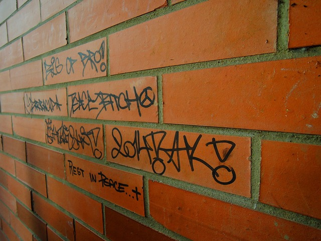 Brick wall orange, computer communication.