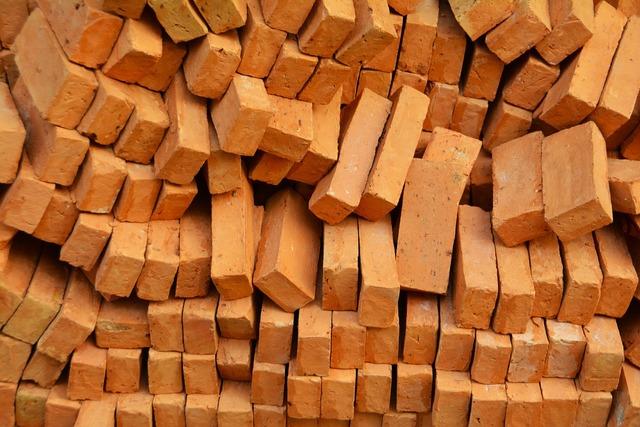 Bricks heap pile, architecture buildings.