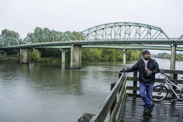 Bridge biker river.