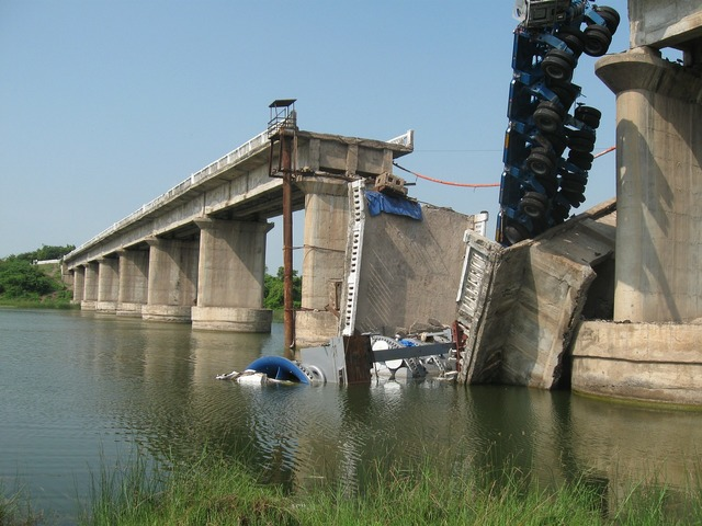 Bridge collapse damage.