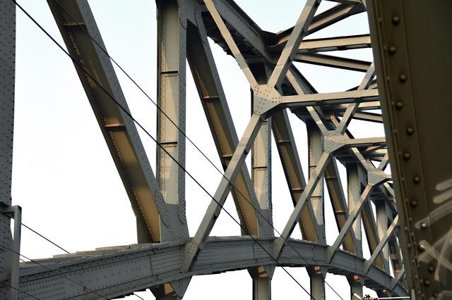 Bridge construction steel beams, architecture buildings.