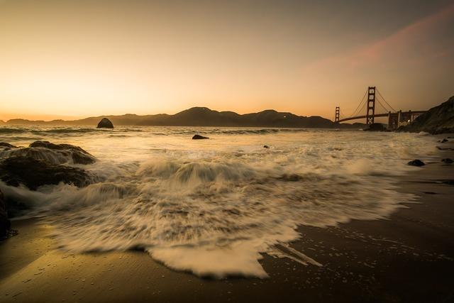 Bridge golden gate bridge sea, travel vacation.