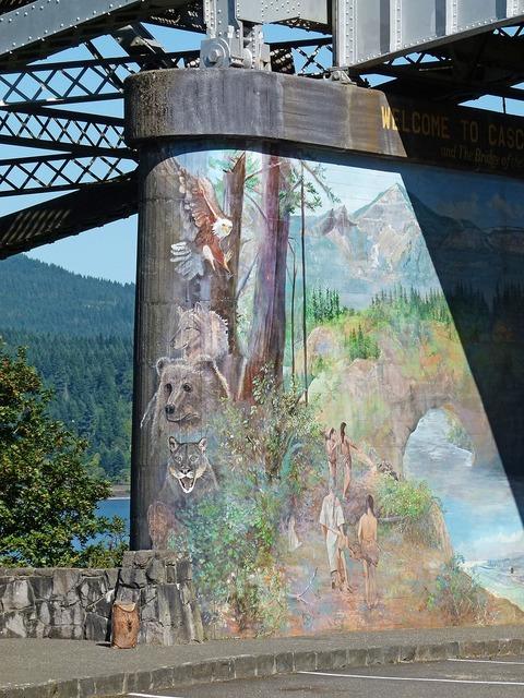 Bridge pier painted artwork, architecture buildings.