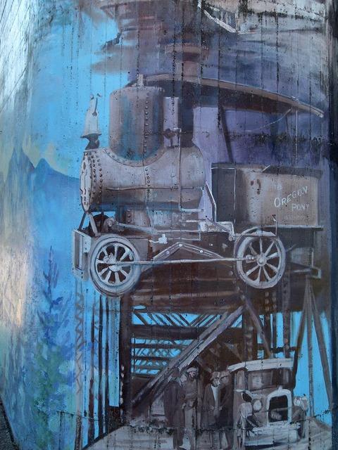 Bridge pier wall painting artwork, architecture buildings.