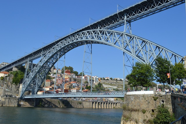 Bridge postage portugal, transportation traffic.