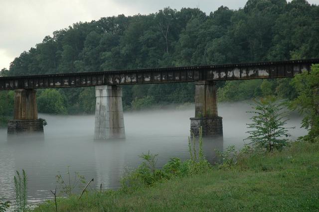 Bridge railroad trestle river.