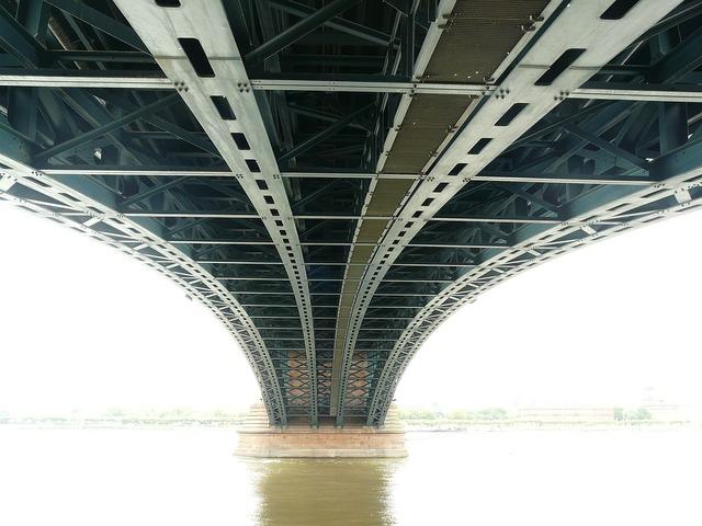 Bridge steel bridge metal rods, architecture buildings.