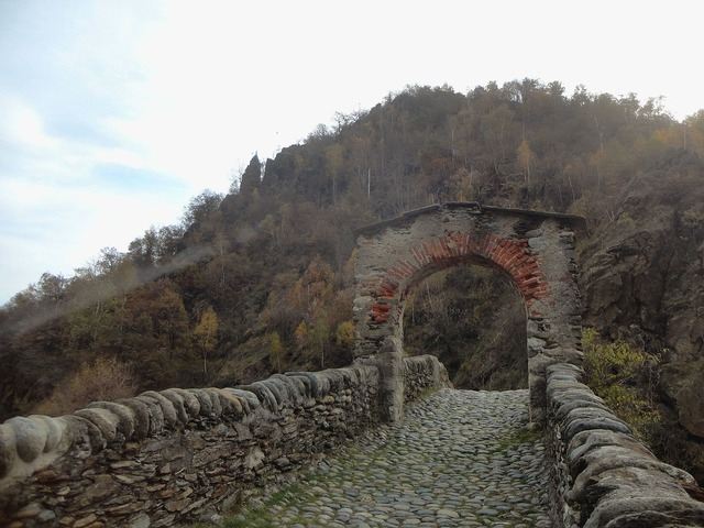 Bridge stone ancient, nature landscapes.