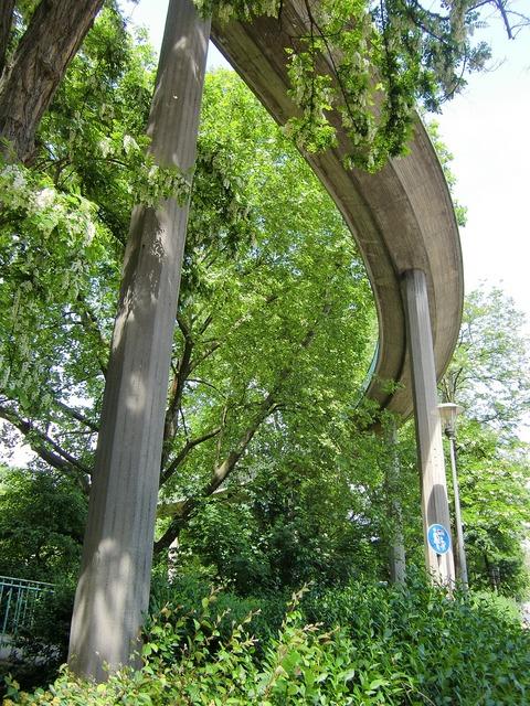 Bridge support pillar, architecture buildings.
