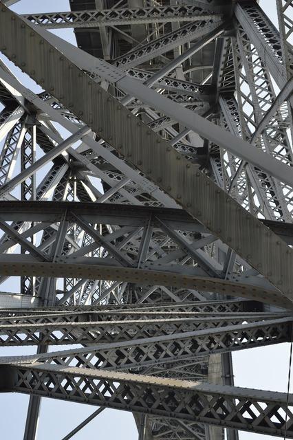Bridge tubing lines, architecture buildings.