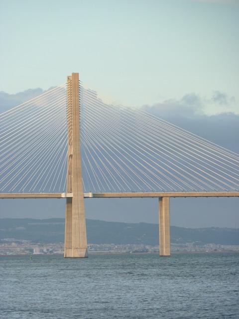 Bridge vasco gama lisbon, architecture buildings.