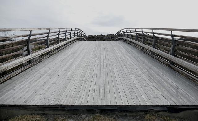 Bridge wooden planks, transportation traffic.