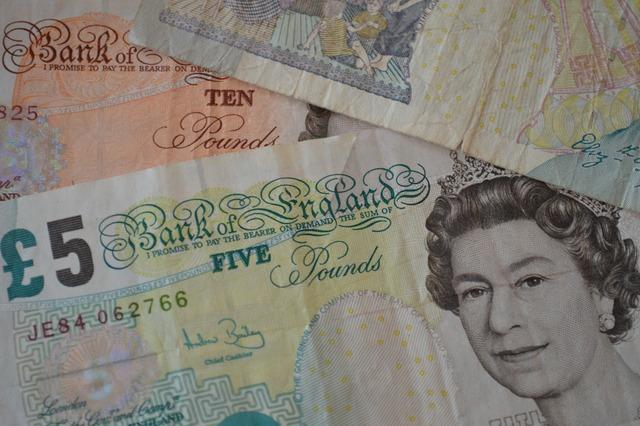 British pounds banknotes bills, business finance.