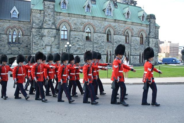 British soldiers march.