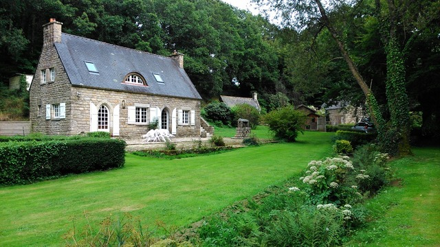 Brittany cottage garden, architecture buildings.
