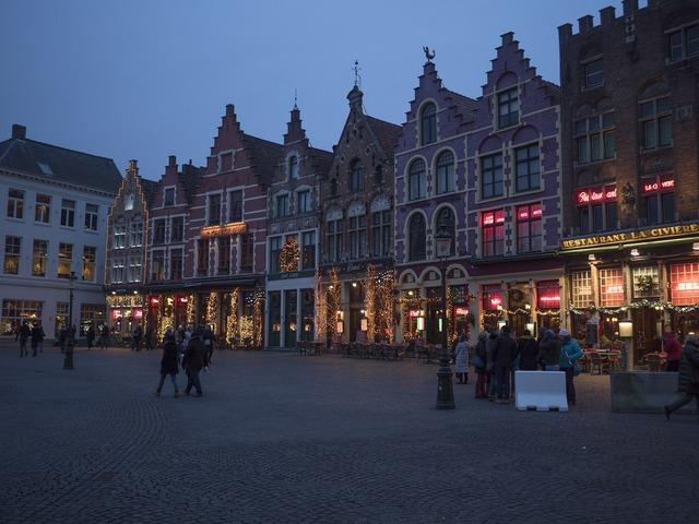 Bruges christmas city, architecture buildings.