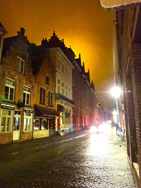 Bruges night light, architecture buildings.