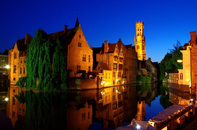 Bruges night old town, architecture buildings.