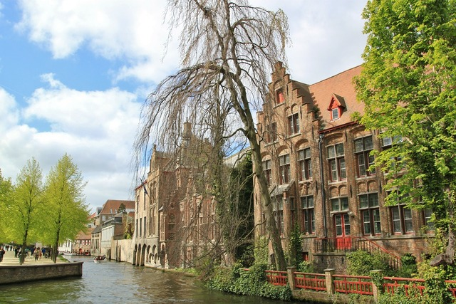 Brugge city old town, architecture buildings.