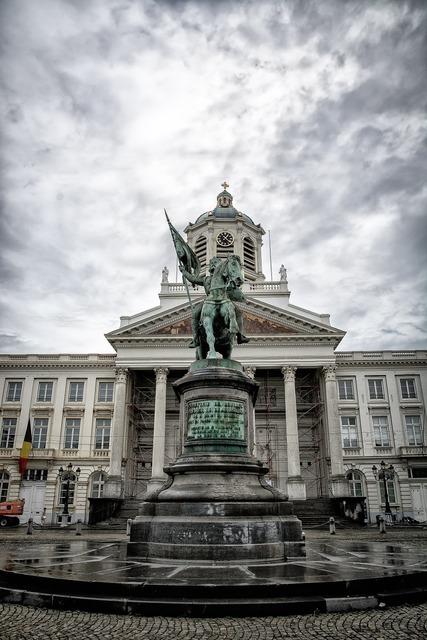 Brussels place royale monument, architecture buildings.