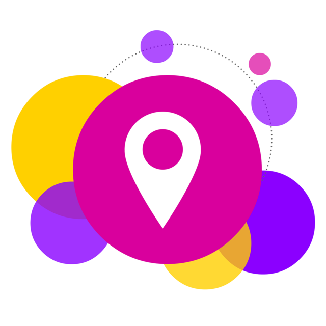 Bubbles locate location, computer communication.