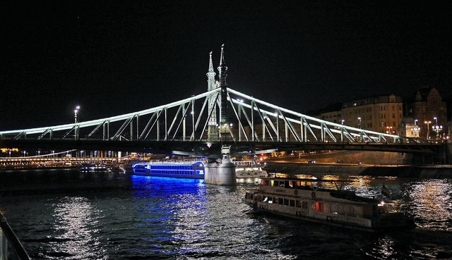Budapest at night liberty bridge danube, science technology.