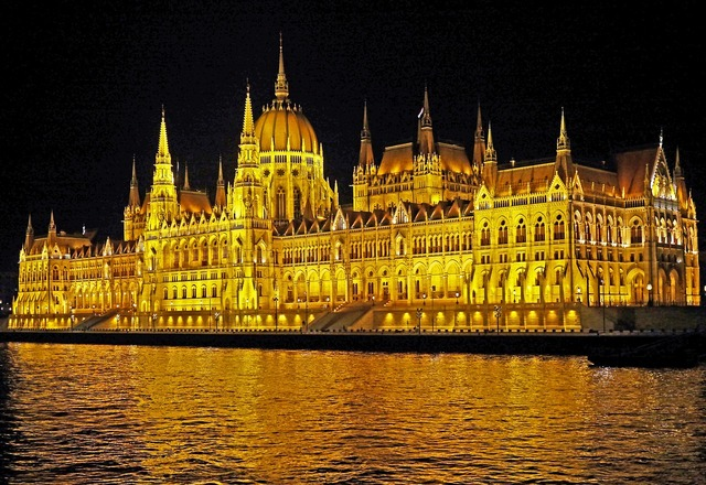 Budapest at night parliament at night ship passage, architecture buildings.