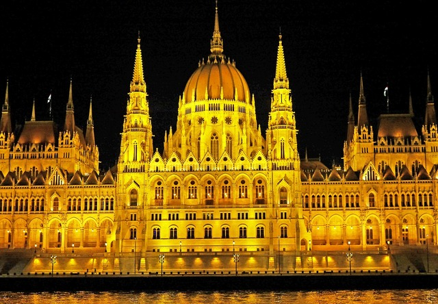 Budapest at night parliament danube, science technology.