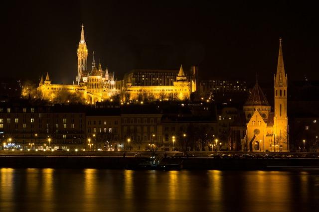Budapest castle night image, architecture buildings.