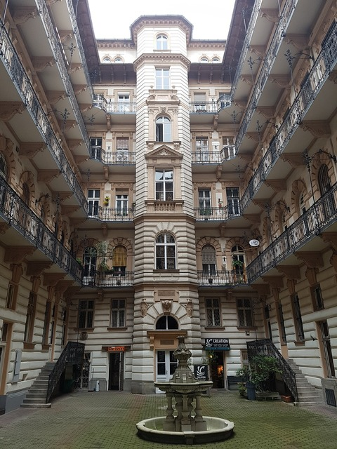 Budapest hungary courtyard, architecture buildings.