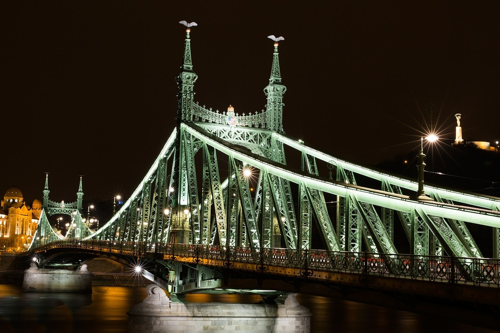 Budapest liberty bridge franz-joseph bridge, transportation traffic.