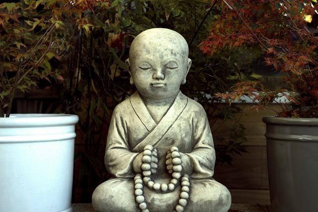Buddha garden statue, religion.