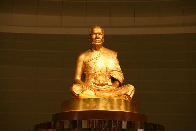 Buddha gold statue, religion.