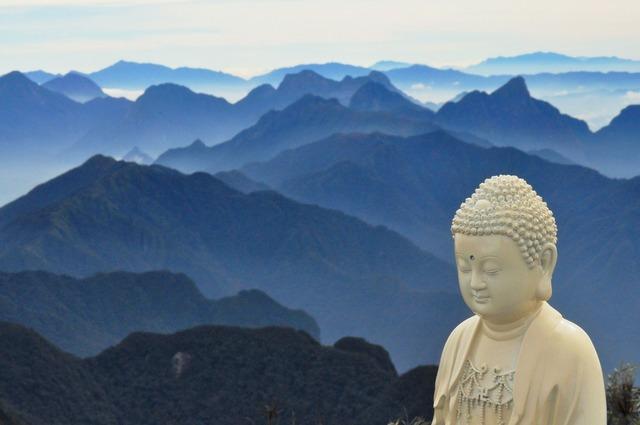 Buddha mountains blue, religion.