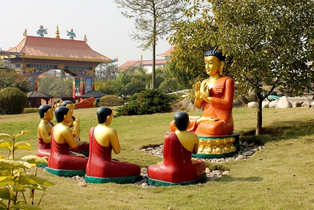 Buddha teaching disciples, religion.