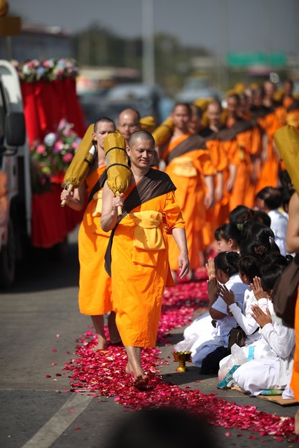 Buddhism orange monks, religion.