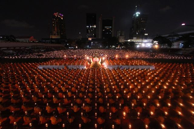 Buddhists monks ceremony, people.