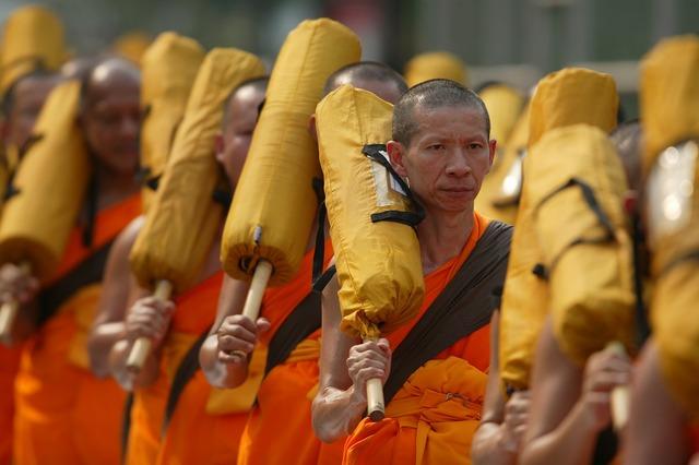 Buddhists monks orange, people.