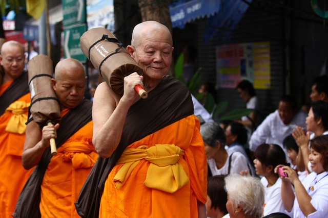 Buddhists monks walk, religion.